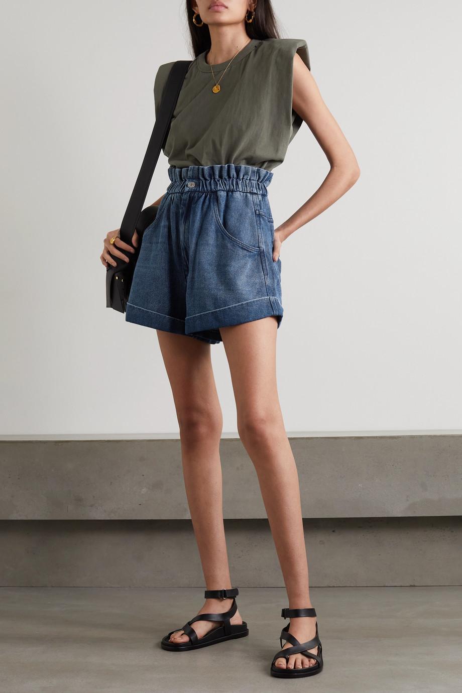 Isabel Marant Étoile Itea gathered denim shorts