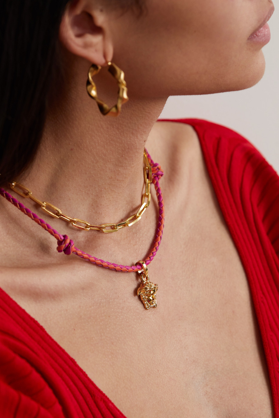 Versace Gold-tone and leather necklace