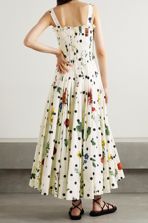 Oscar de la Renta Robe plissée en popeline de coton mélangé imprimée