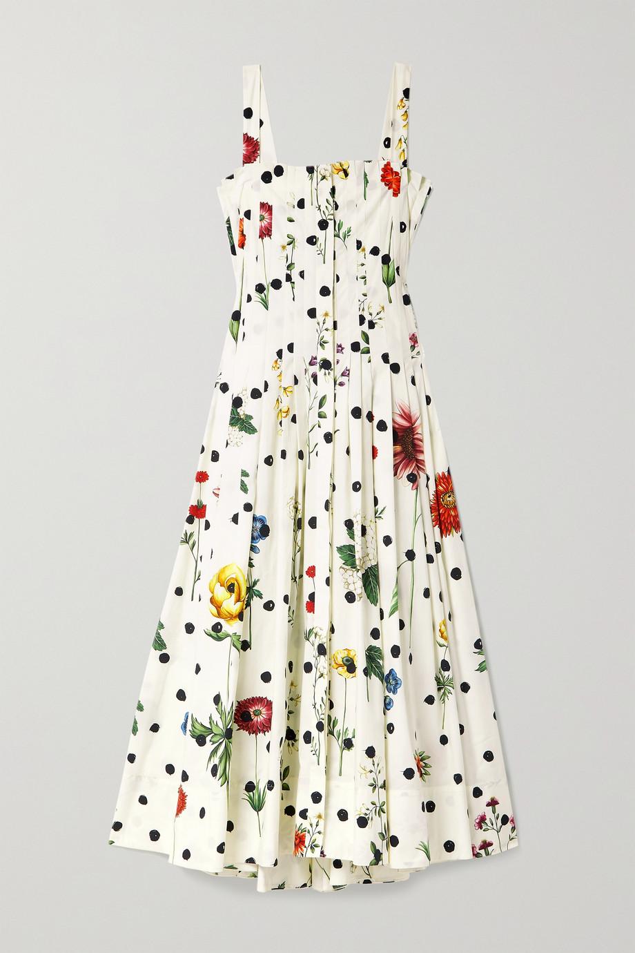 Oscar de la Renta Pleated printed cotton-blend poplin dress