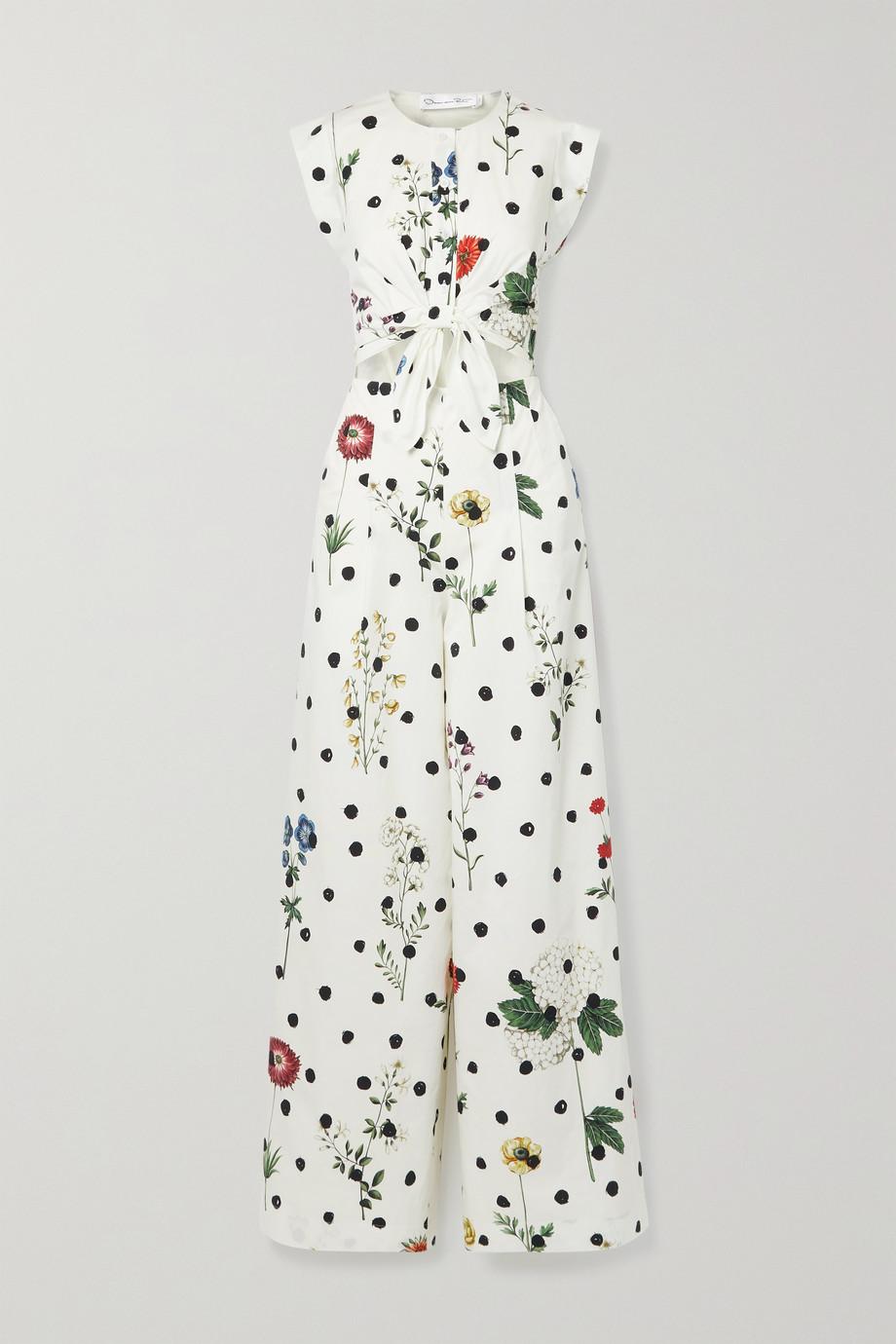 Oscar de la Renta Cutout floral-print cotton-blend poplin jumpsuit