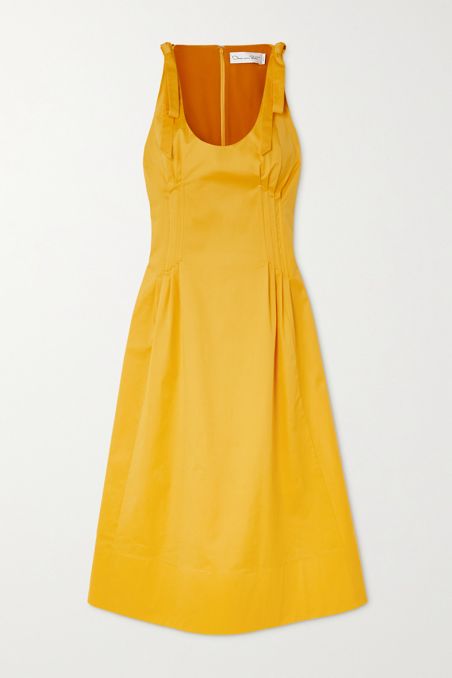 Oscar de la Renta Pintucked stretch-cotton twill midi dress