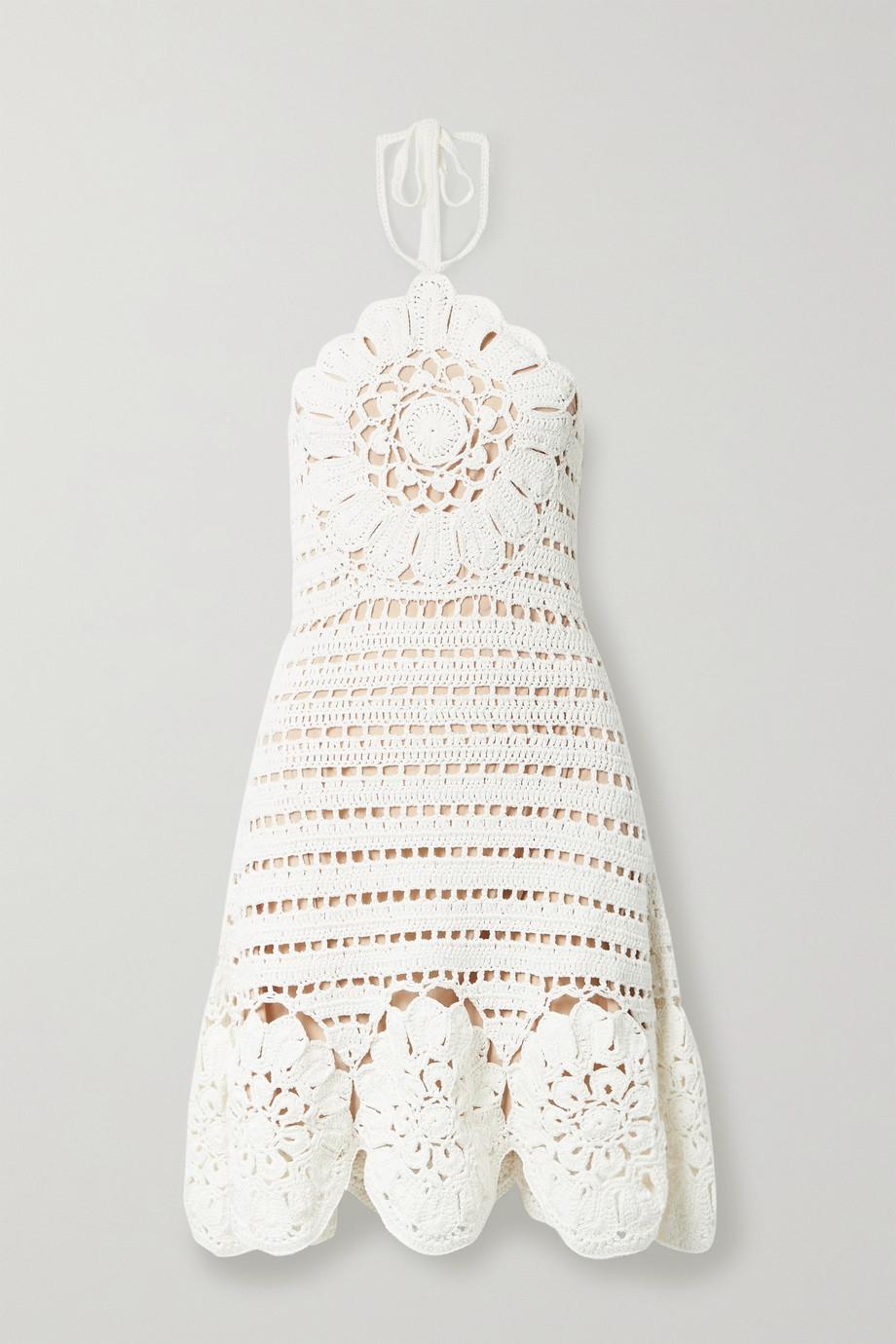 Oscar de la Renta Neckholder-Minikleid aus gehäkelter Baumwolle