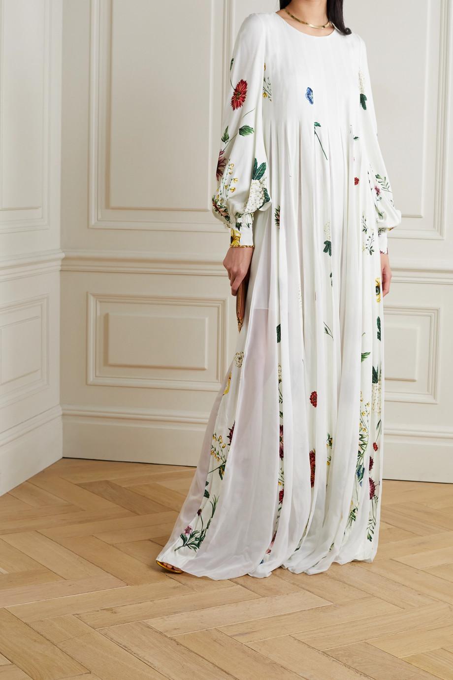 Oscar de la Renta Pleated floral-print crepe and chiffon gown