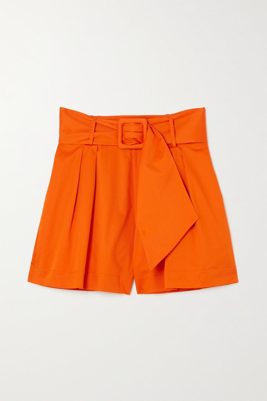 Oscar de la Renta Belted pleated stretch-cotton twill shorts