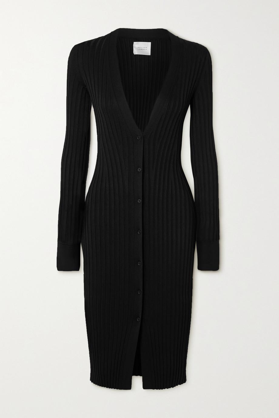 Galvan Rhea ribbed-knit midi dress