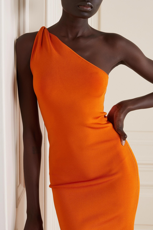 Galvan Persephone one-shoulder stretch-knit midi dress