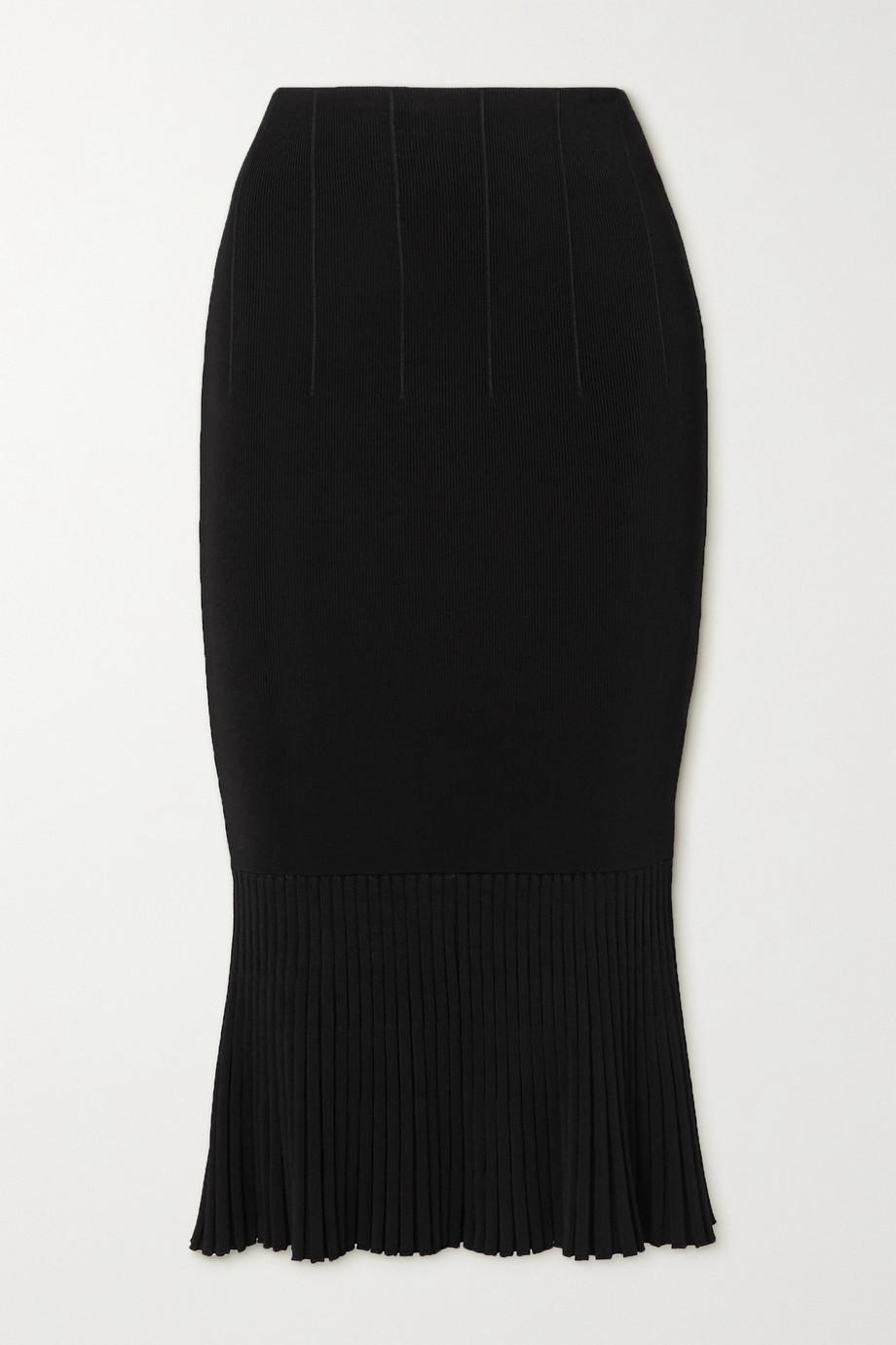 Galvan Atlanta pleated ribbed stretch-knit skirt