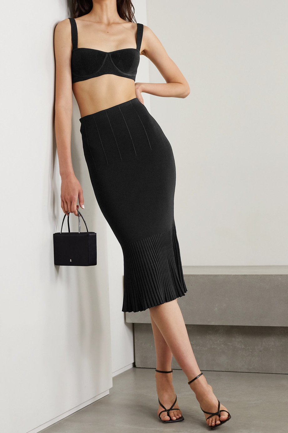 Galvan NYX cropped stretch-knit top