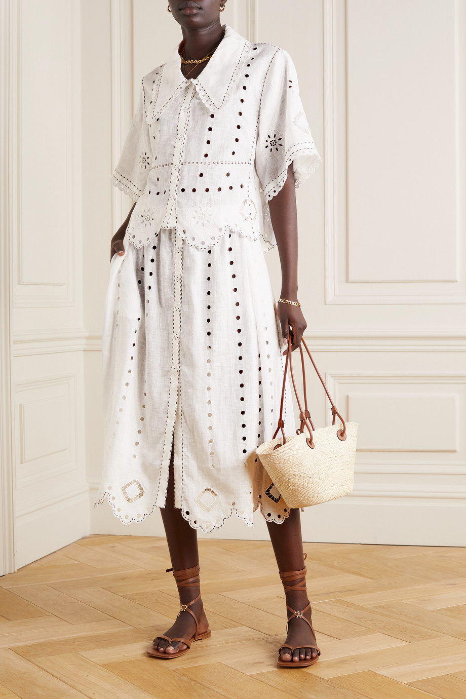 Vita Kin Charlie topstitched broderie anglaise linen blouse