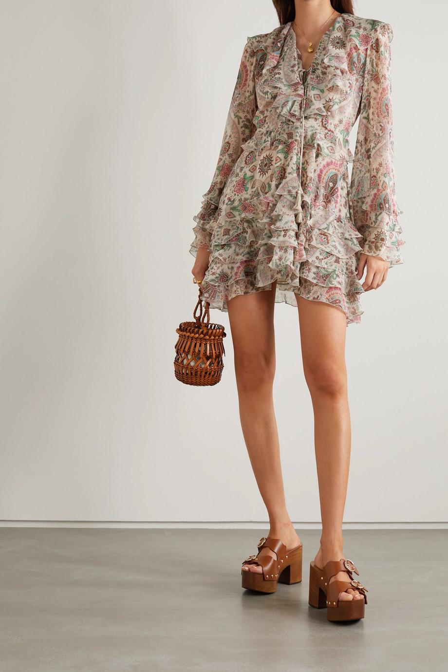 Etro Ruffled paisley-print silk crepe de chine mini dress