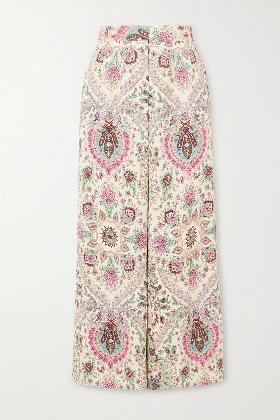 Etro Paisley-print crepe wide-leg pants