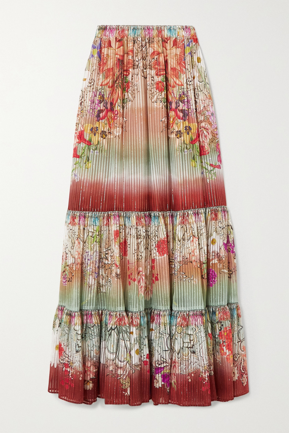 Etro Tiered metallic floral-print silk-blend maxi skirt