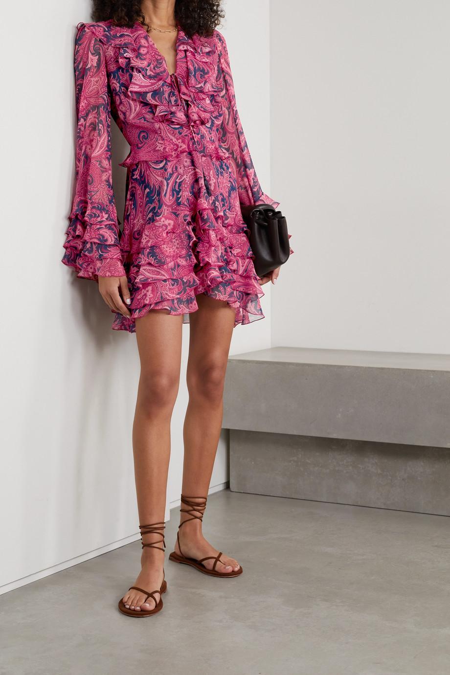 Etro Mini-robe en crépon de soie à imprimé cachemire et à volants