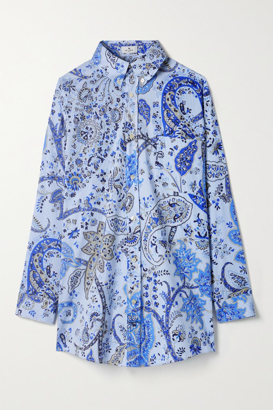 Etro Oversized printed cotton-blend poplin shirt