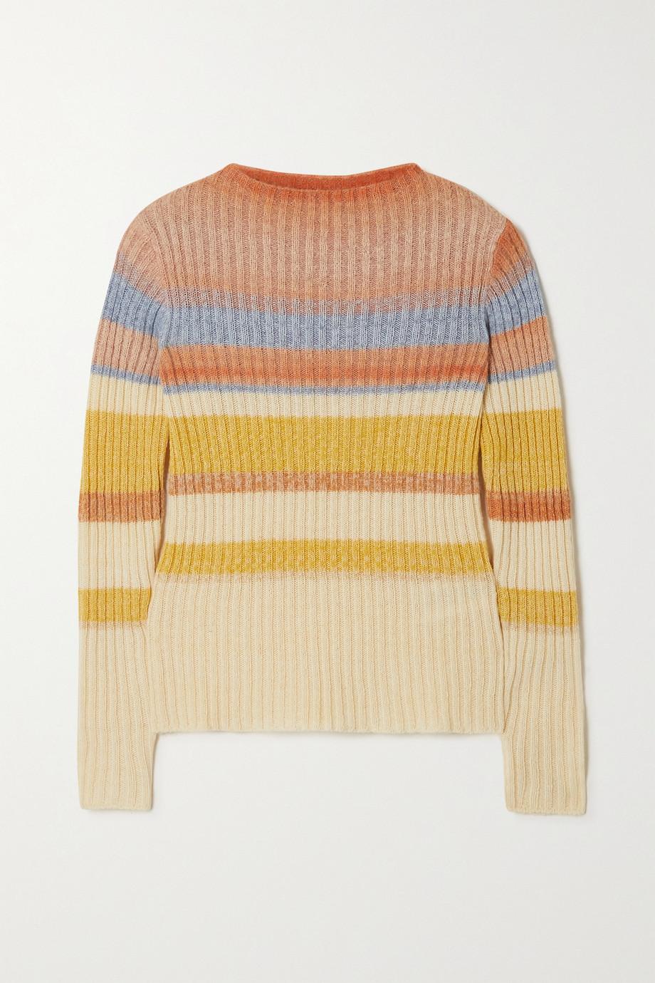 Etro Pull en laine mélangée côtelée à rayures