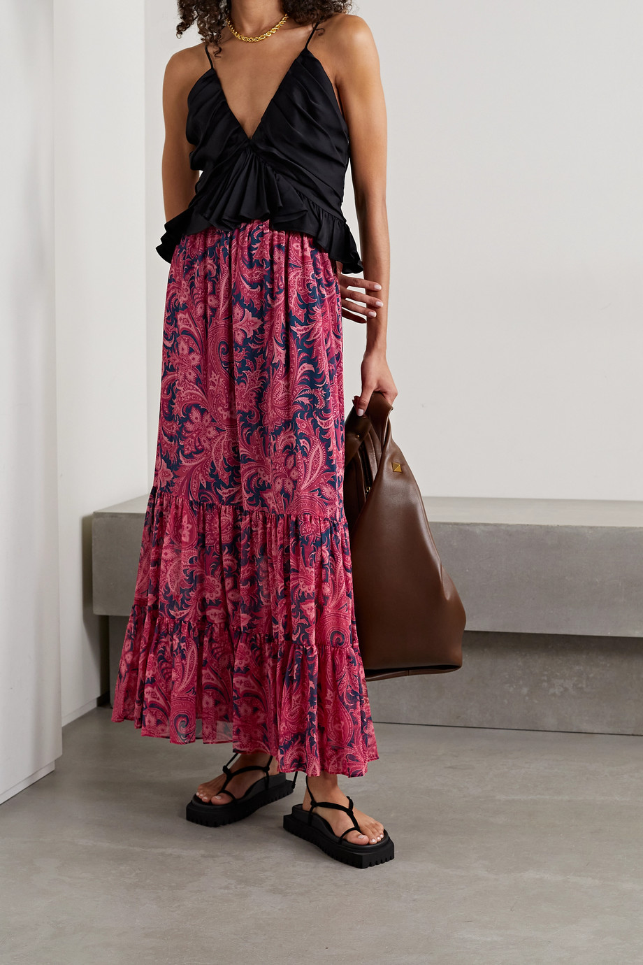 Etro Tiered paisley-print silk-crepon maxi skirt