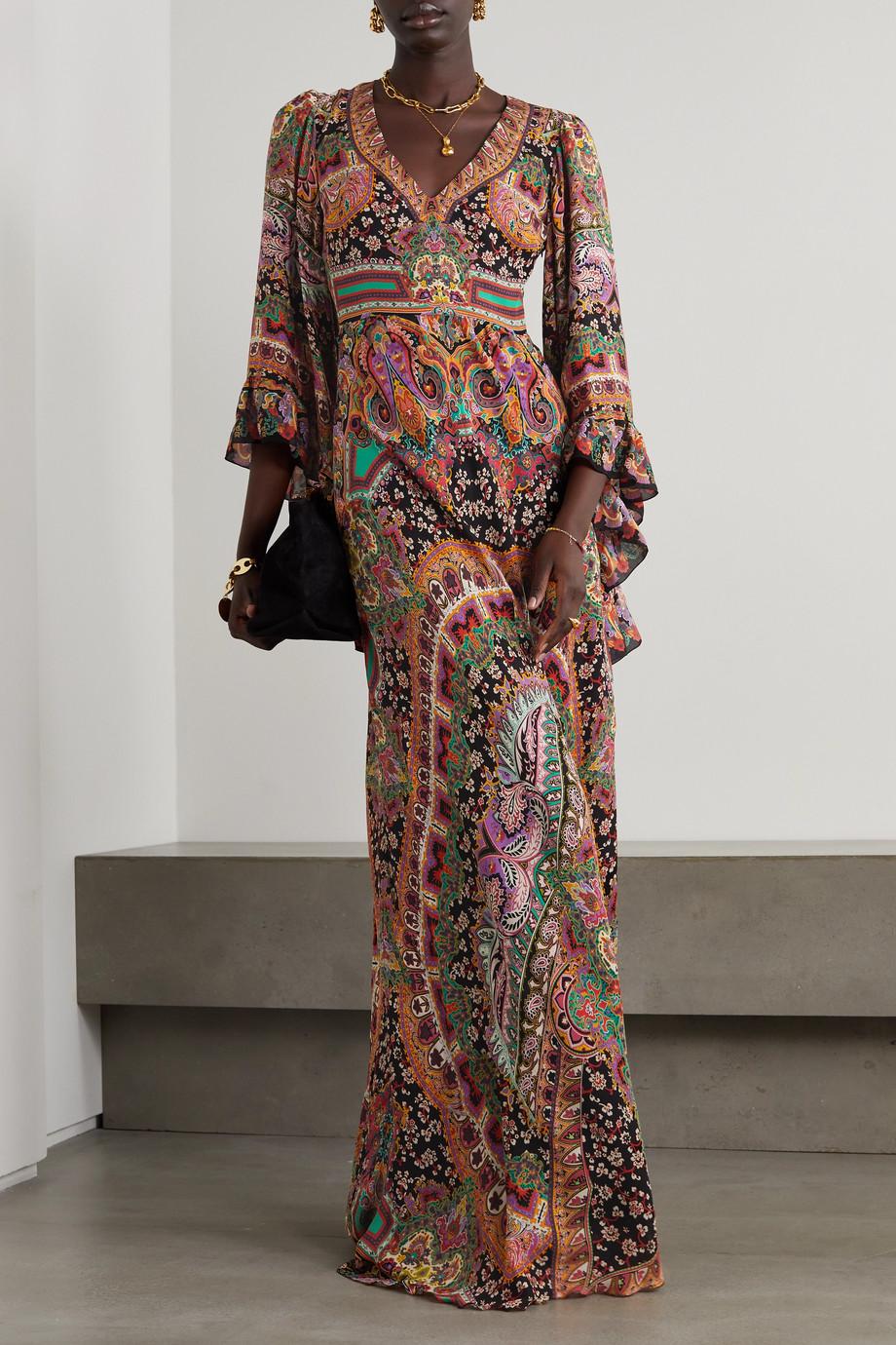 Etro Robe aus Seide mit Paisley-Print und Rüschen