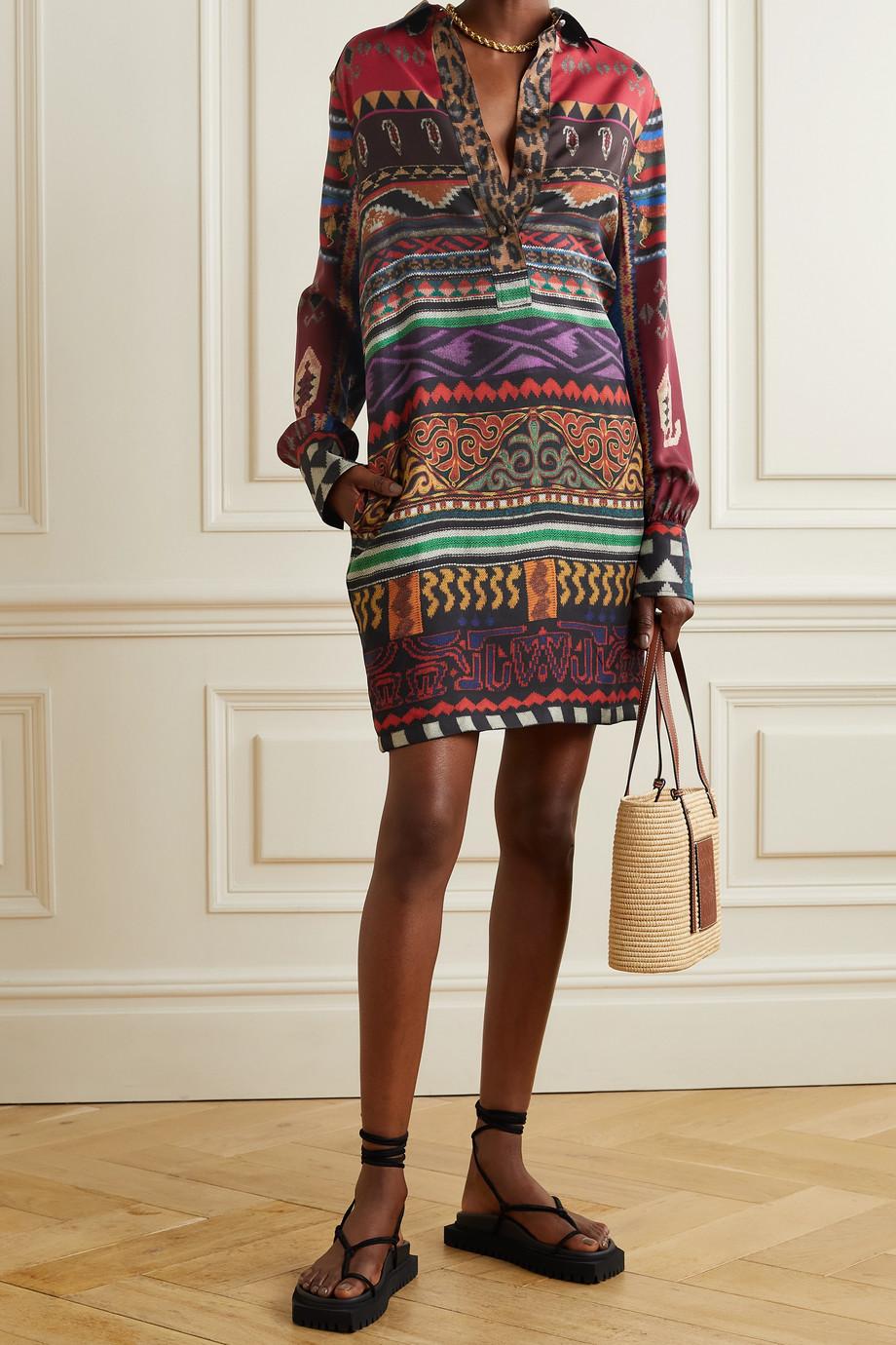 Etro Mini-Hemdblusenkleid aus bedrucktem Seiden-Twill