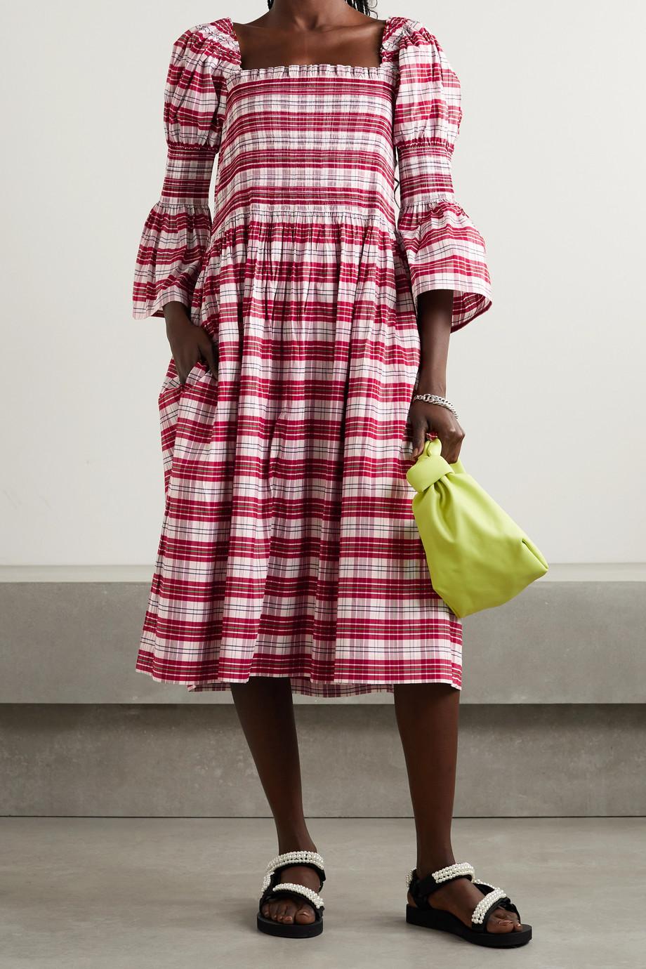 Molly Goddard Aditi shirred checked cotton-blend midi dress