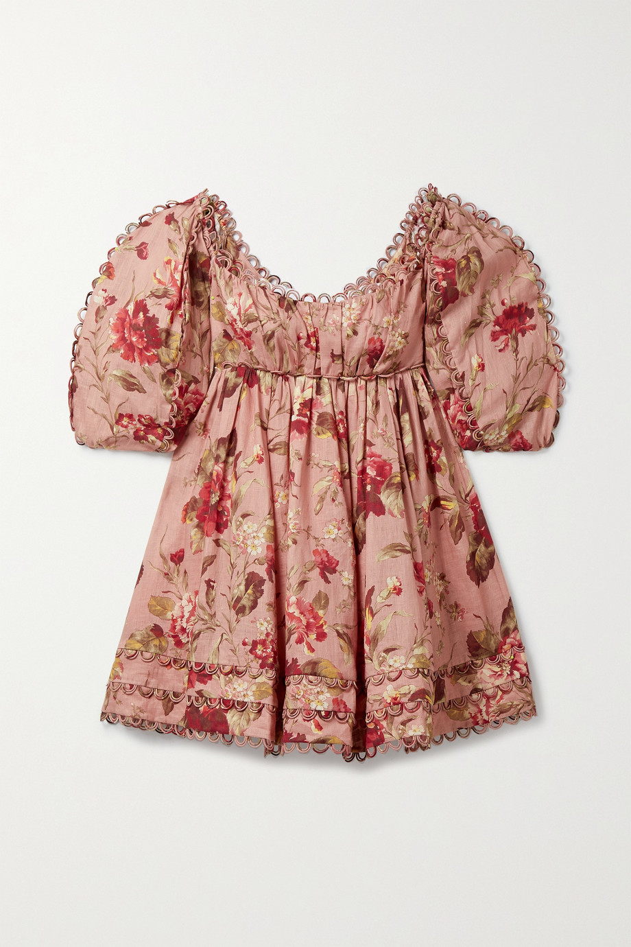 Zimmermann Cassia scalloped floral-print linen mini dress