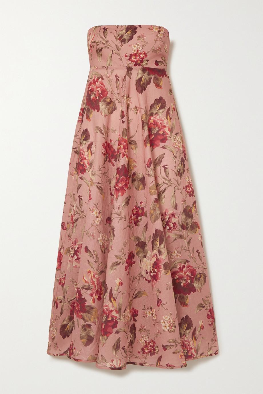 Zimmermann Cassia strapless floral-print linen dress