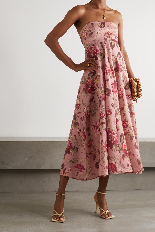 Zimmermann Cassia trägerloses Kleid aus Leinen mit Blumenprint
