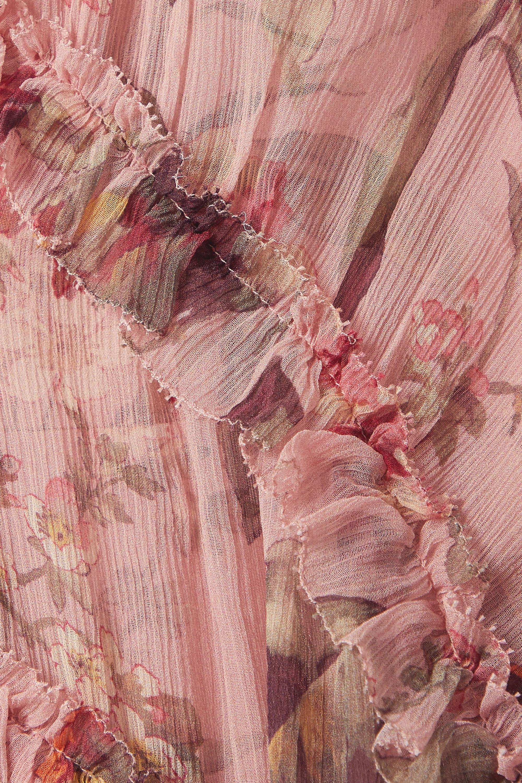 Zimmermann Cassia Minikleid aus Seidenkrepon mit Blumenprint und Rüschen