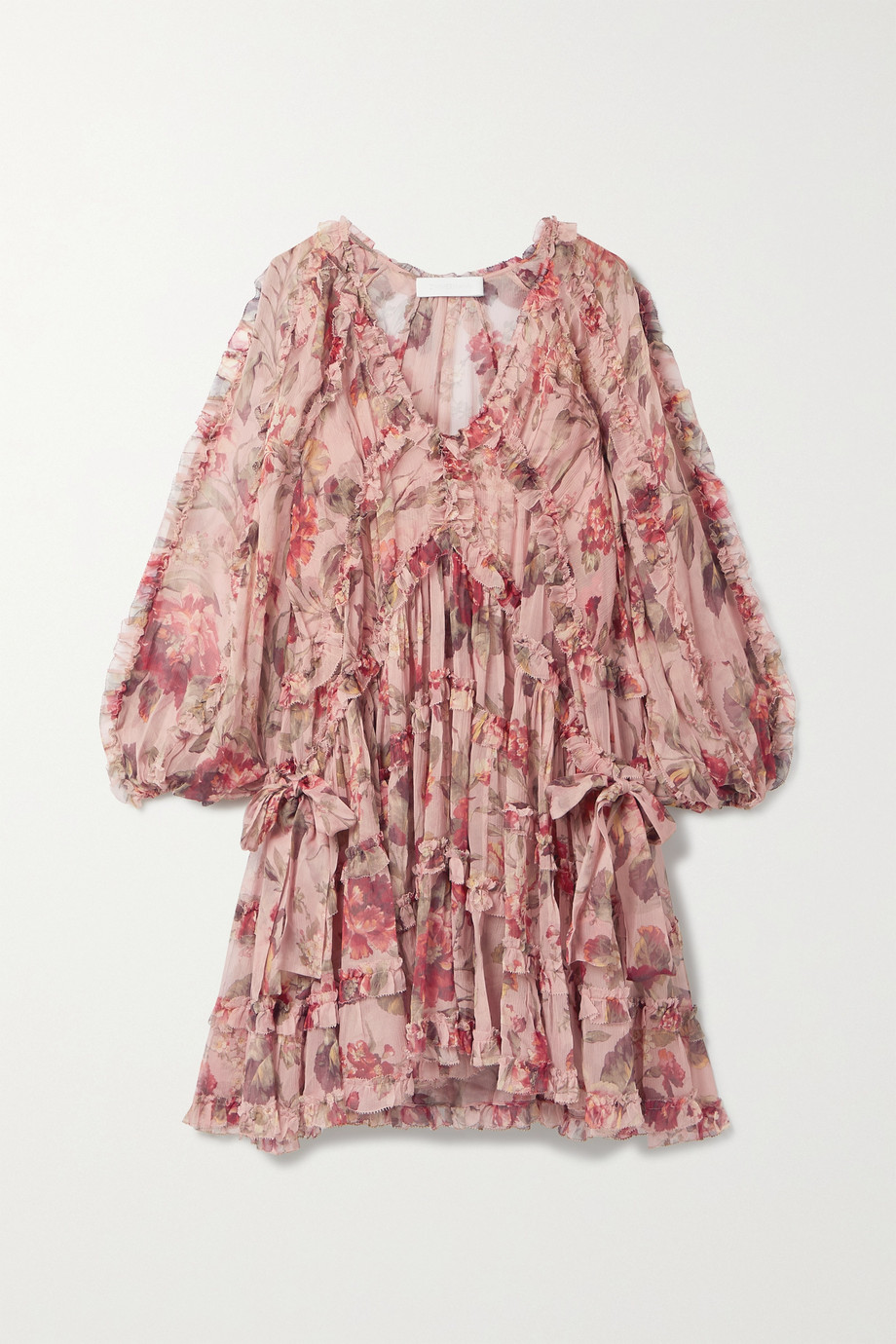 Zimmermann Mini-robe en crépon de soie à imprimé fleuri et à volants Cassia