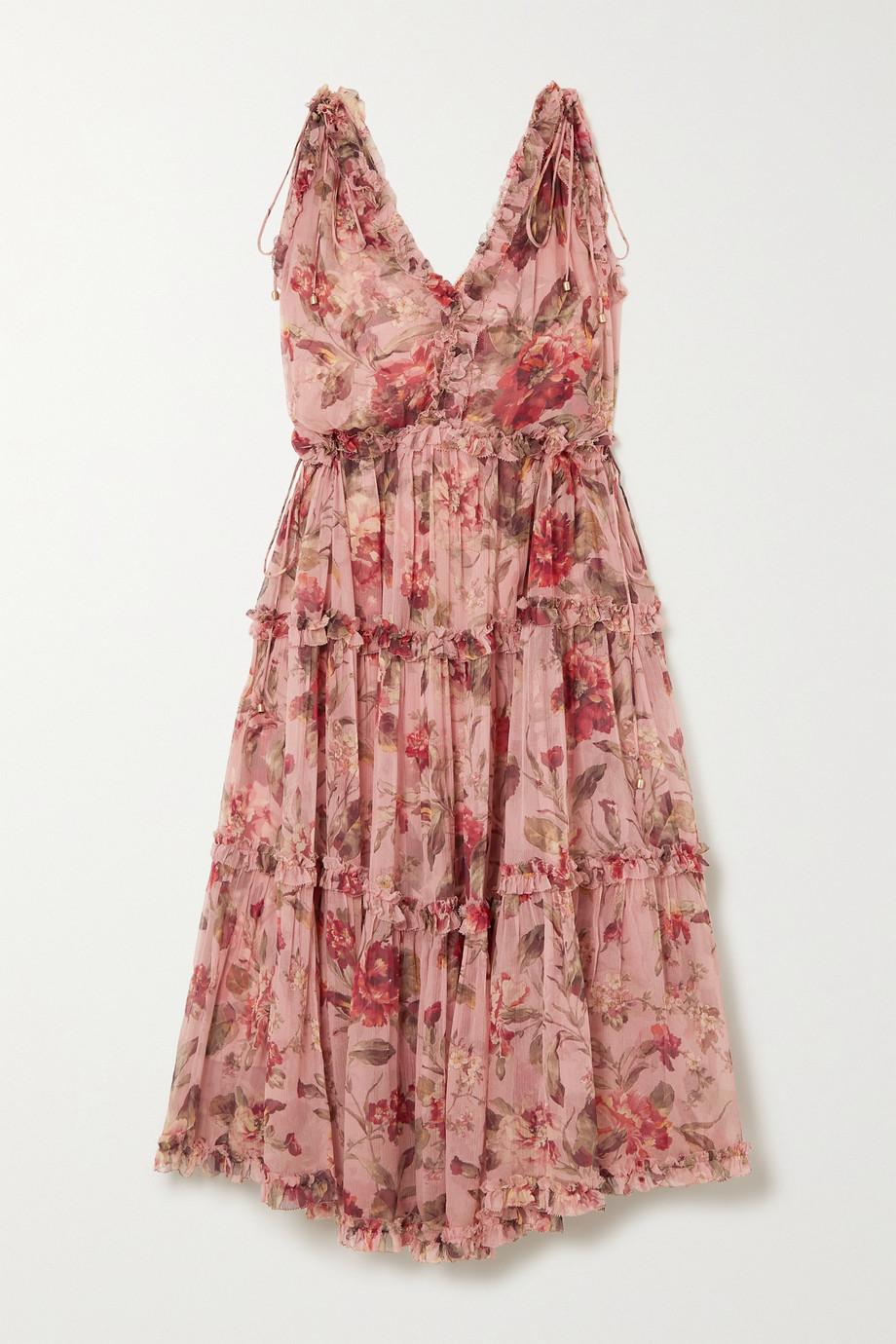 Zimmermann Cassia ruffled floral-print silk-crepon midi dress