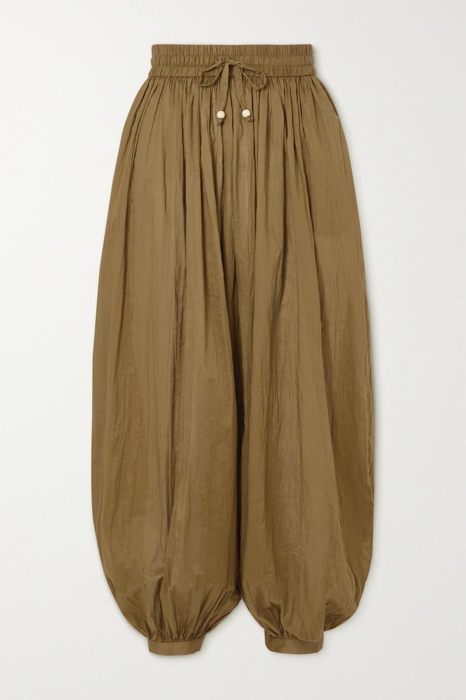 Zimmermann Pantalon en voile de coton froissé Cassia