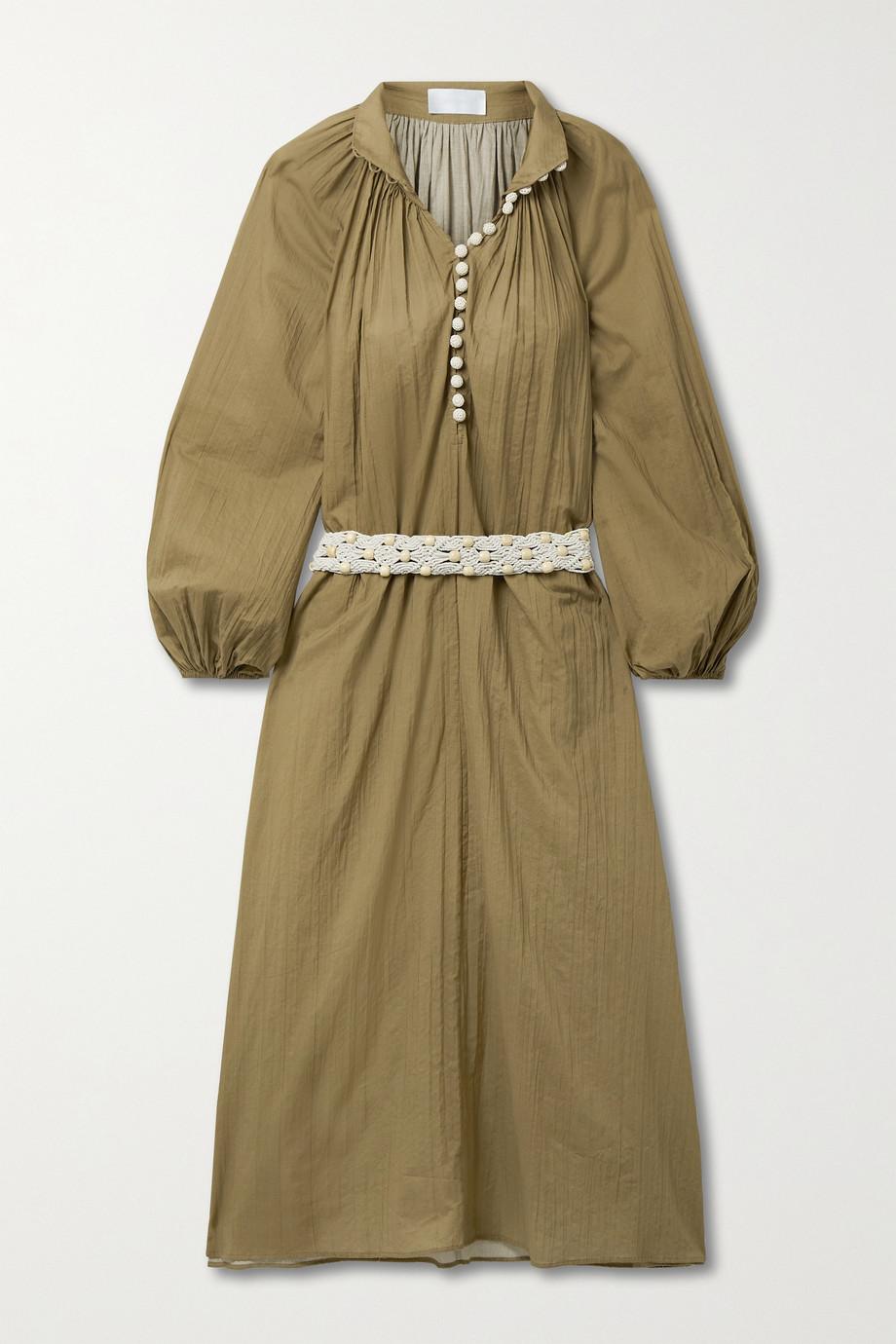 Zimmermann Robe midi en voile de coton froissé à ceinture Cassia