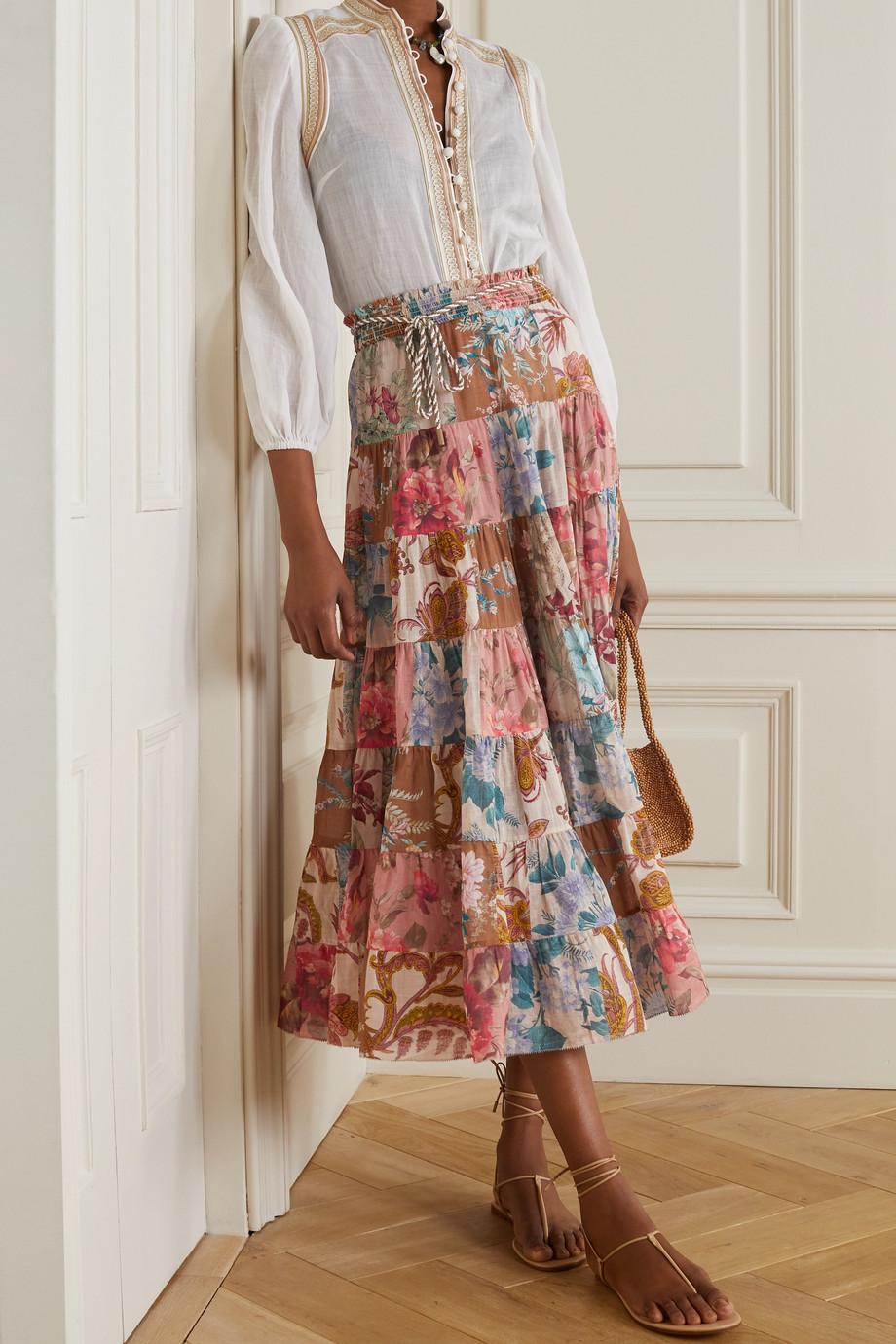 Zimmermann Jupe patchwork en voile de coton à imprimé fleuri Cassia