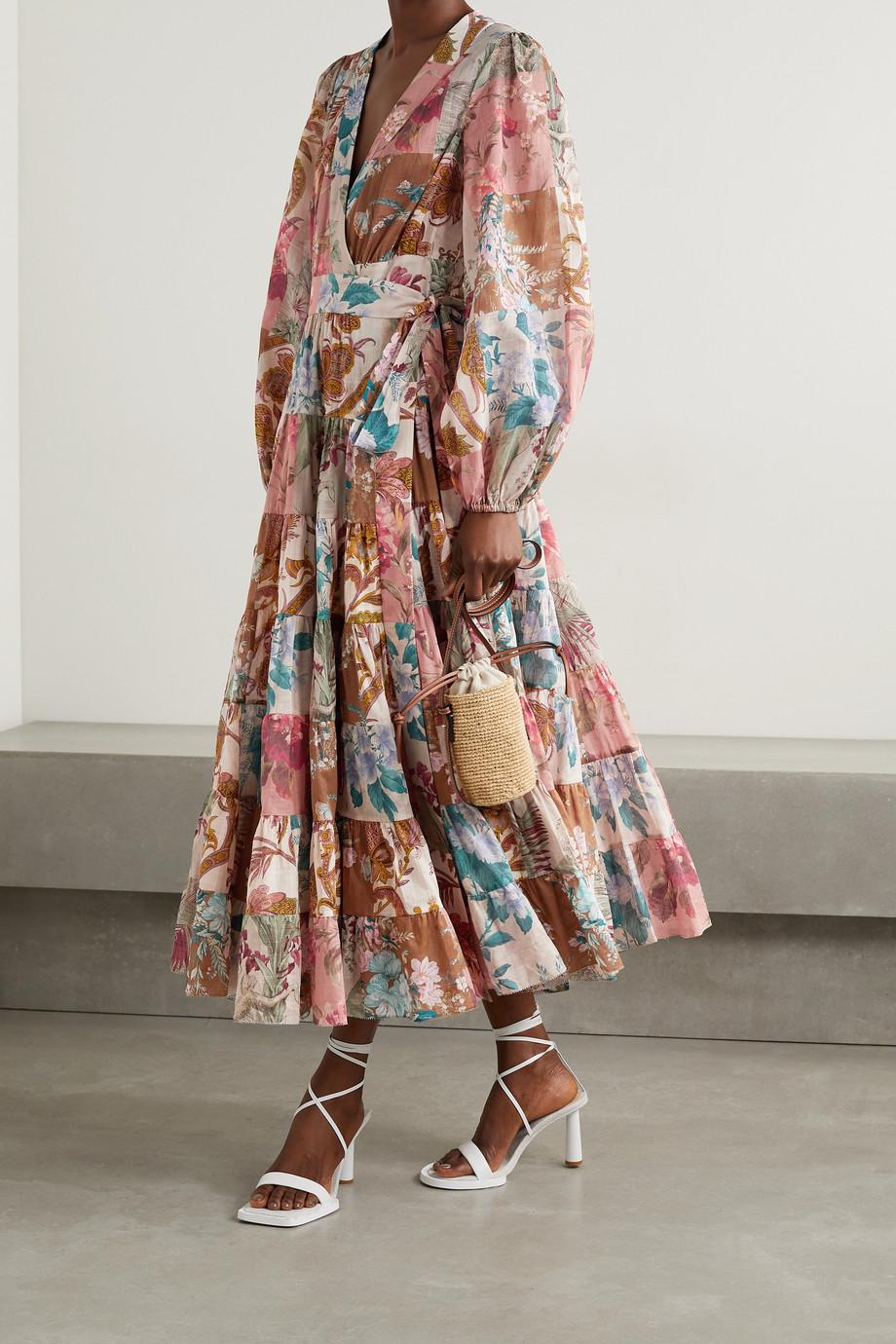 Zimmermann Robe portefeuille patchwork en voile de coton à imprimé fleuri Cassia