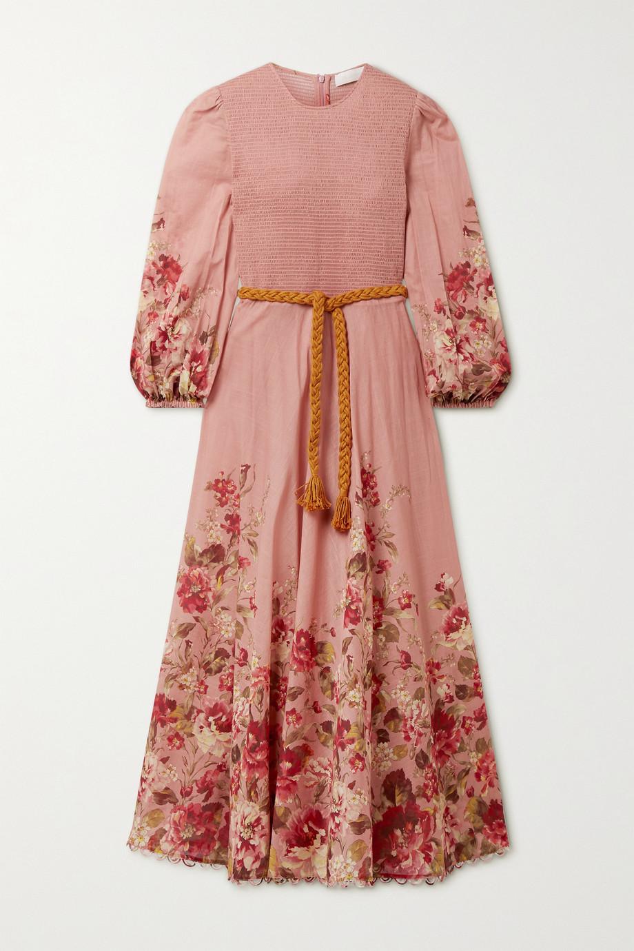 Zimmermann Robe midi en voile de coton à imprimé fleuri, smocks et ceinture Cassia