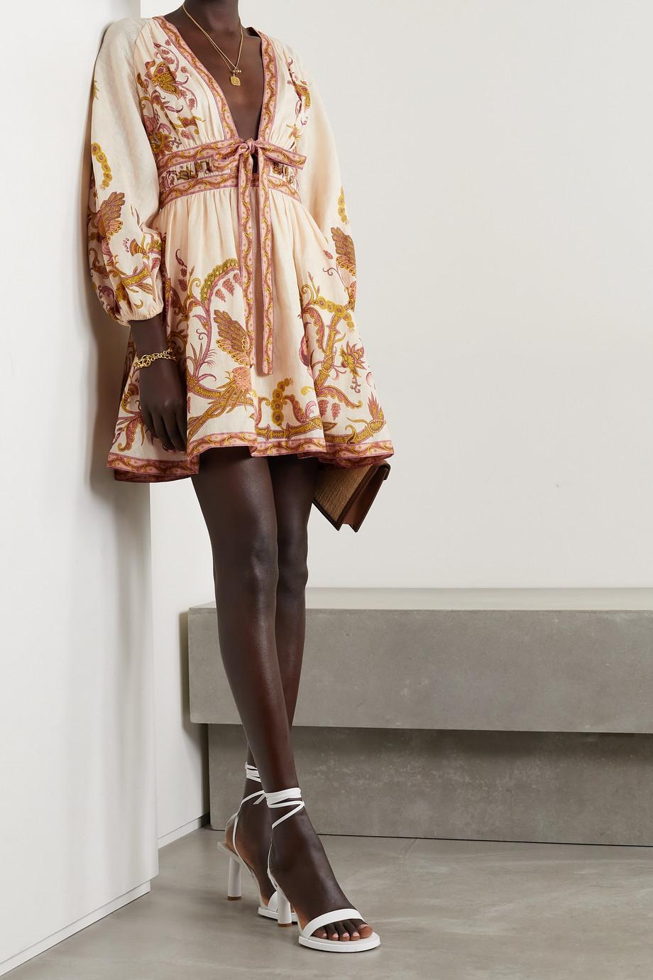 Zimmermann Mini-robe nouée sur le devant en lin imprimé à découpe Cassia
