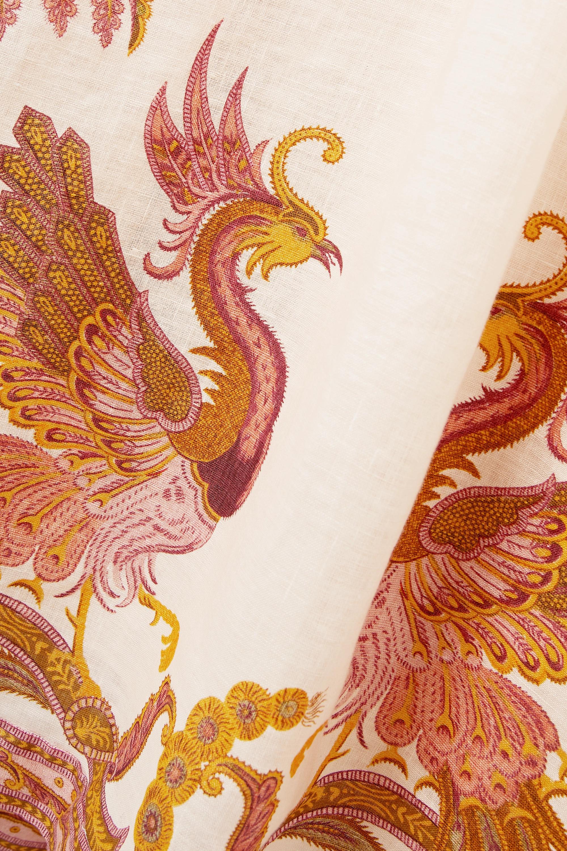 Zimmermann Robe midi dos nu en lin imprimé à liens Cassia