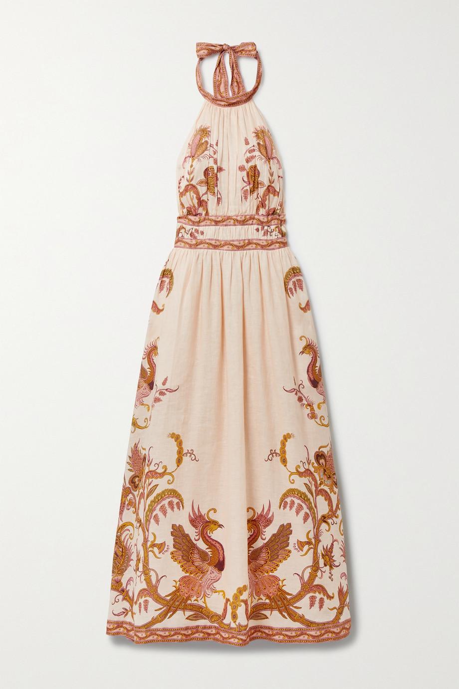 Zimmermann Cassia open-back printed linen halterneck midi dress