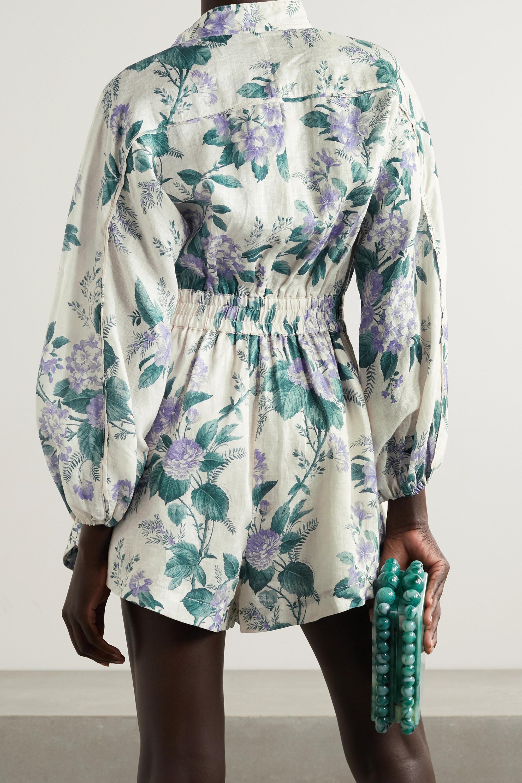 Zimmermann Cassia belted floral-print linen playsuit