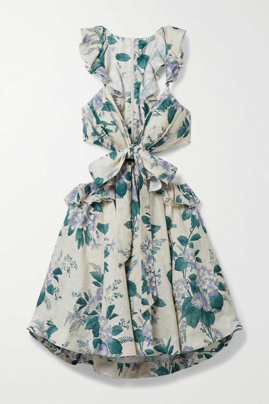 Zimmermann Cassia Minikleid aus Leinen mit Blumenprint, Rüschen und Cut-outs