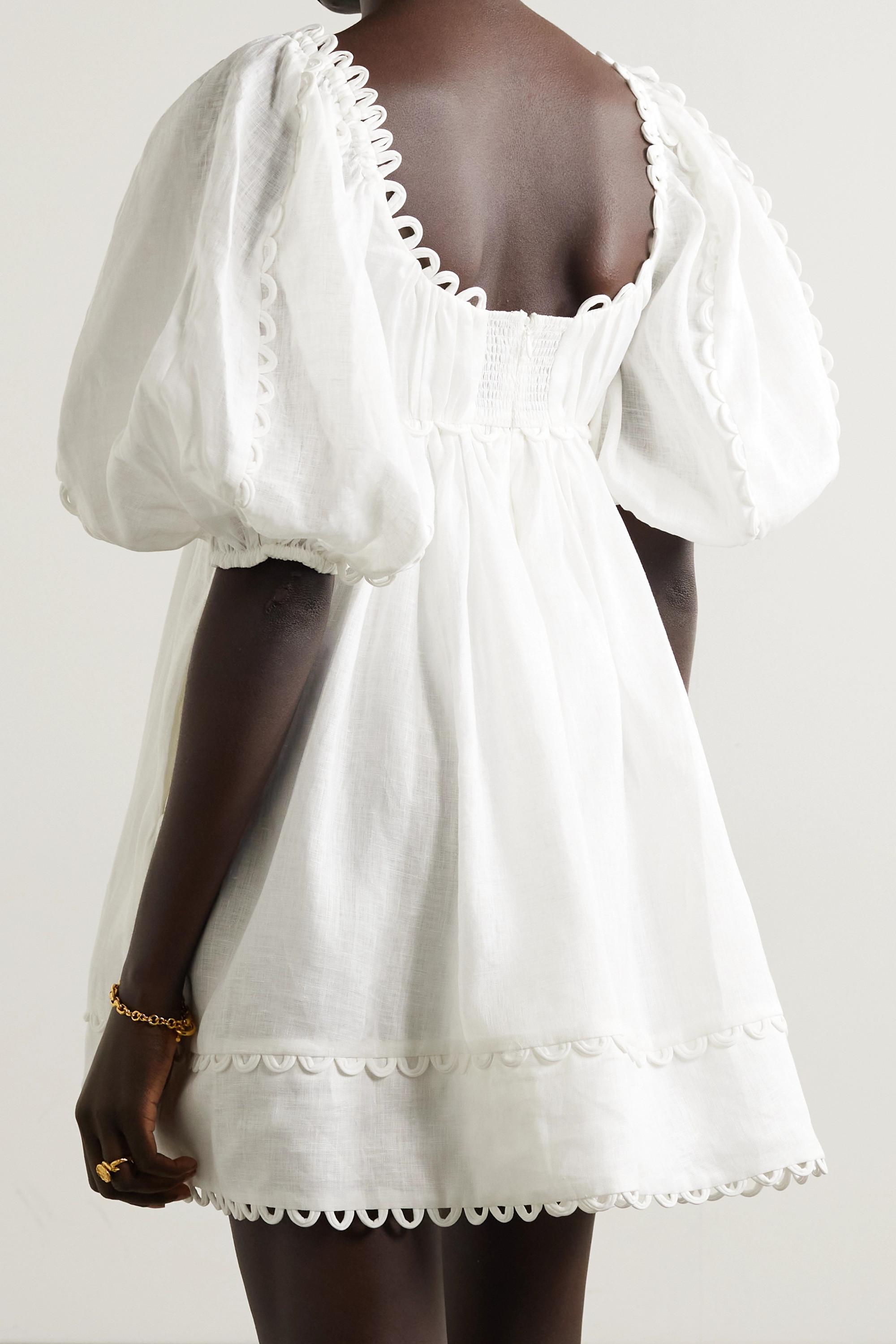 Zimmermann Mini-robe en lin à festons Cassia