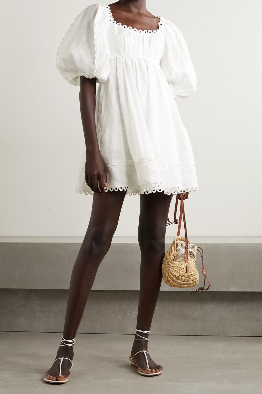 Zimmermann Cassia scalloped linen mini dress