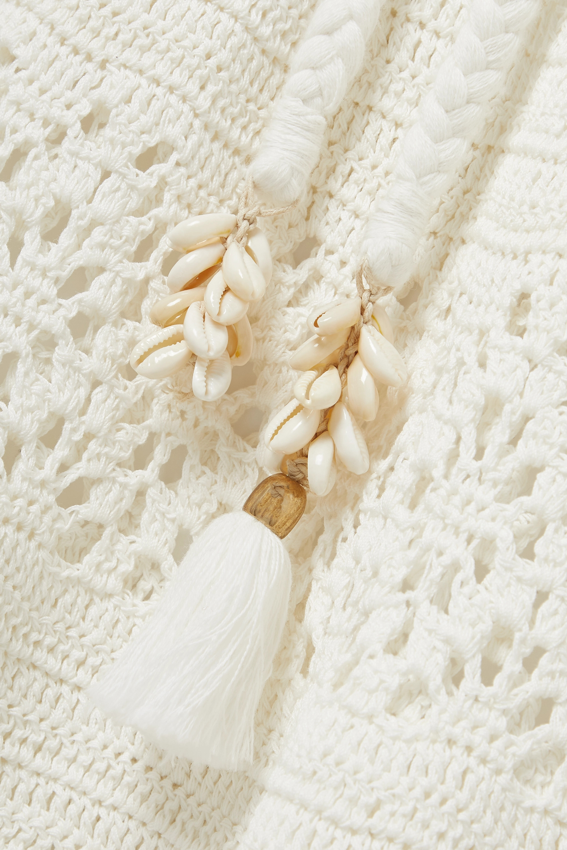 Zimmermann Robe midi en lin crocheté à ornements et à ceinture Cassia