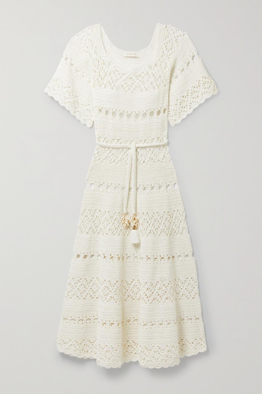 Zimmermann Cassia belted embellished crocheted linen midi dress