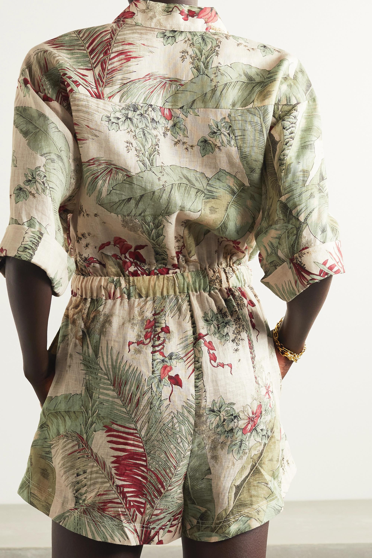 Zimmermann Cassia tasseled printed linen playsuit