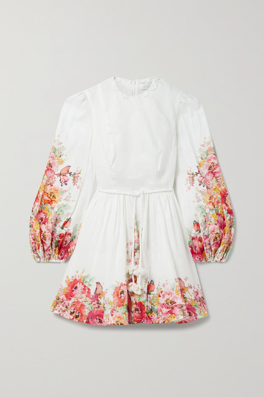 Zimmermann Mae Minikleid aus Leinen mit Blumenprint und Verzierungen