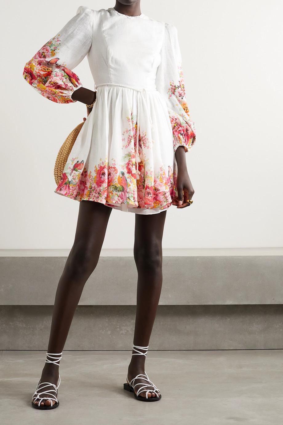 Zimmermann Mini-robe en lin à imprimé fleuri et à ornements Mae