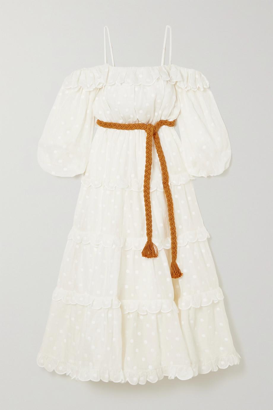 Zimmermann Mae cold-shoulder belted embroidered ramie midi dress