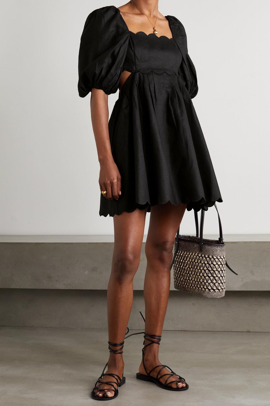 Zimmermann Mae cutout scalloped linen mini dress