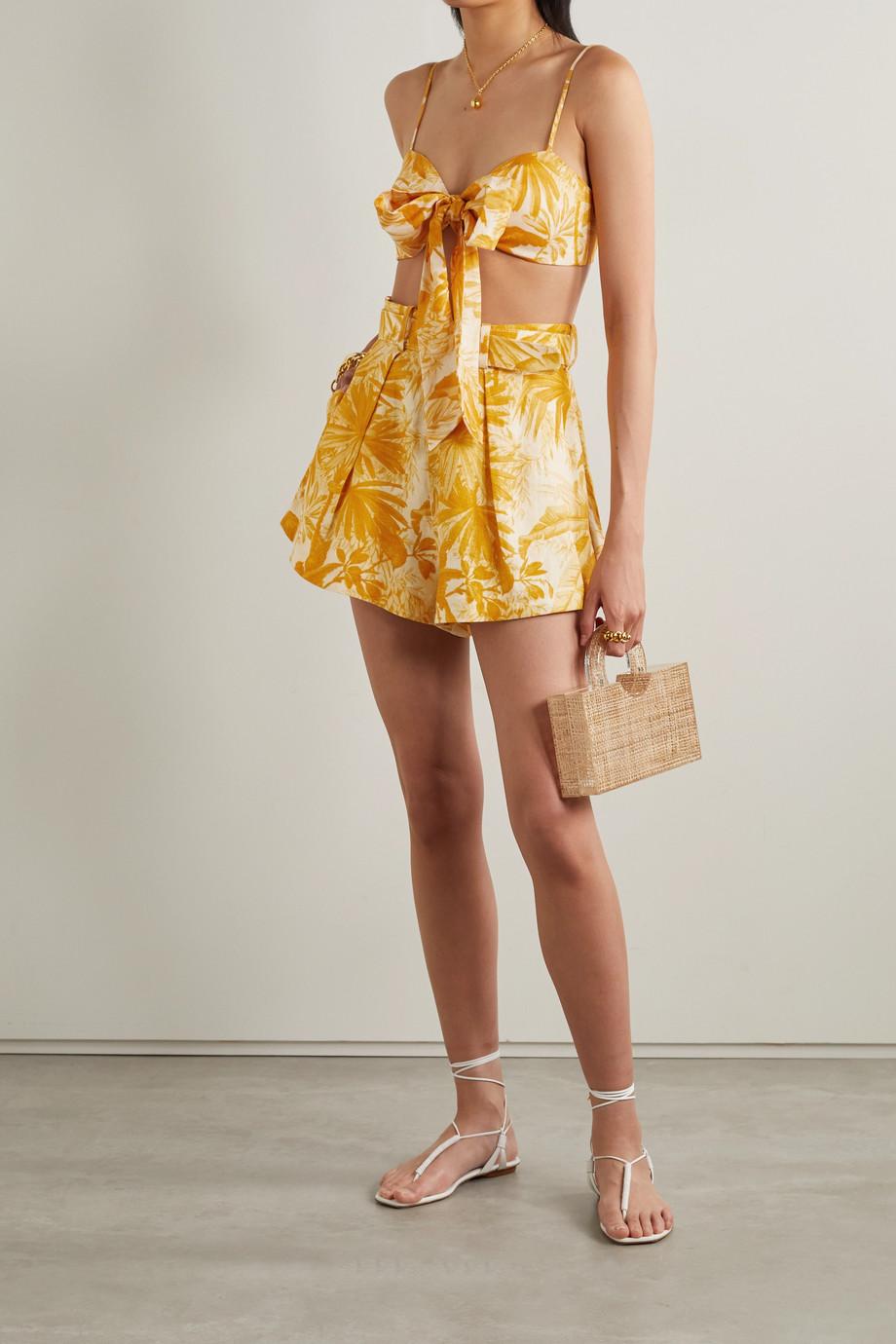 Zimmermann Short en lin imprimé à plis et à ceinture Mae